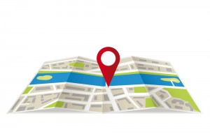 Navigation map with pin pointer