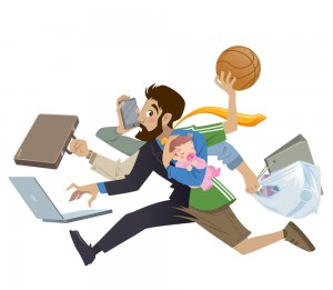 Cartoon super busy man and father multitask doing many works
